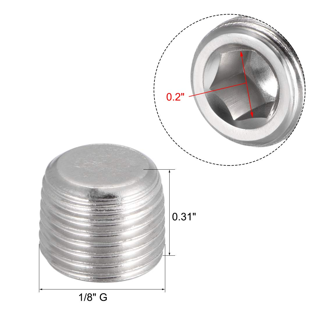 Pack of 5 uxcell a13030600ux0849 Air Pipe Fittings 1//4 PT Thread Hex Socket Metal Connector Caps Silver Tone 5 Pcs