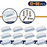iNeith マグネットキャッチ 12個樹脂製の磁気ドアキャッチ 60個ネジ付き 強力 家具 戸棚 食器棚用 (白色ー6Kgプール強度)