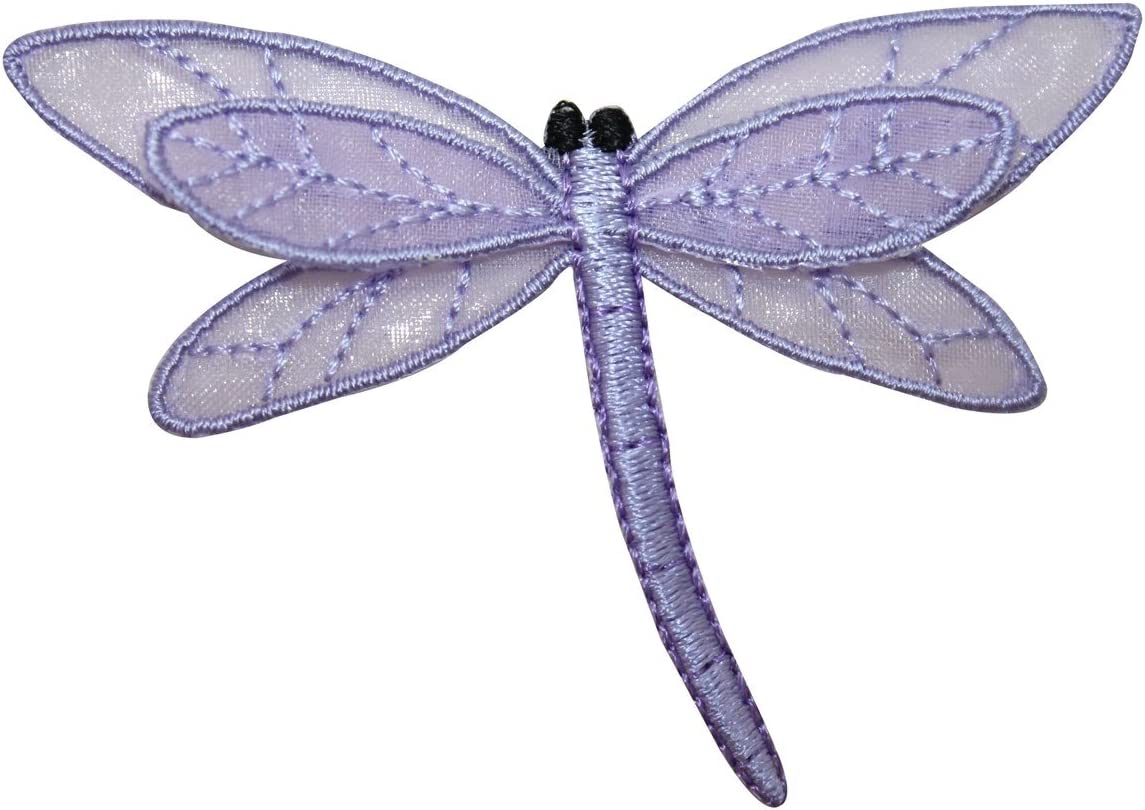 ID 1666B Lace Dragonfly Patch Garden Insect Bug Embroidered Iron On Applique