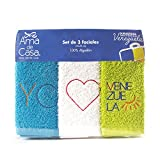 Cotton Facial Towel Venezuelan Edition (3 Pack, 14x14 Inch) 380 GSM by Ama de Casa (Ocean Blue - White - Green Apple)