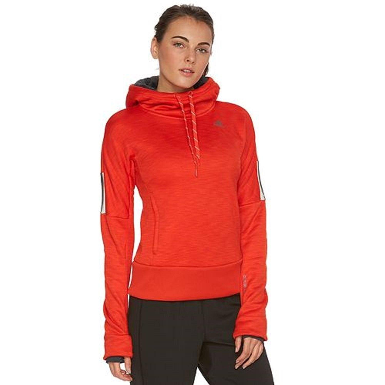 Adidas Women's Beyond The Run Climaheat Fleece Hoodie Bold Orange/Dark Grey) 00_IISDBYPF_FR