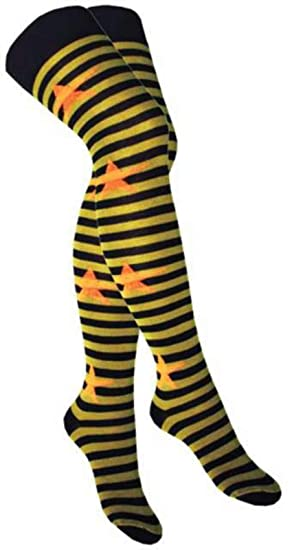 b8126b93846 Image Unavailable. Image not available for. Color  Over Knee Socks Green  Stripes   Orange Stars