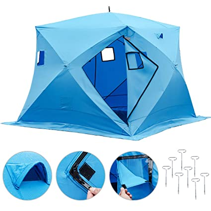 sports shoes 399ae 4cfe3 Happybuy Ice Shelter 2 3 4 8 Person Pop-up Portable Ice Fishing Shelter Top  Insulated Ice Shelter Tent for Fishing Outdoor (Blue for 4 Person)