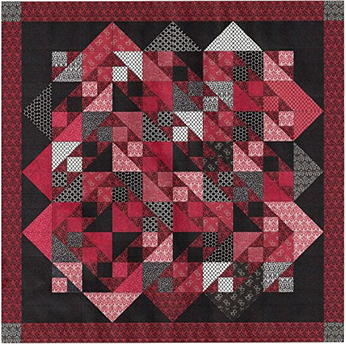 Easy Quilt Kit Offset Diamond!! Red, Black, White/King by Galaxy/RJR
