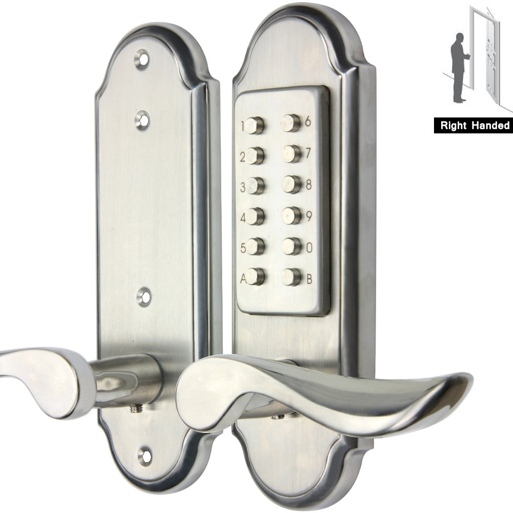 Right Handed Mechanical Keyless Lever Door Lock Digital Code Entry Security Safety,waterproof Mechanical Keyless door lock-Not Deadbolt,Need to drill additional 4 holes.only for single bore door