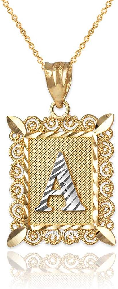 LA BLINGZ 10K Yellow Gold Filigree Alphabet Initial Letter A DC Pendant Necklace