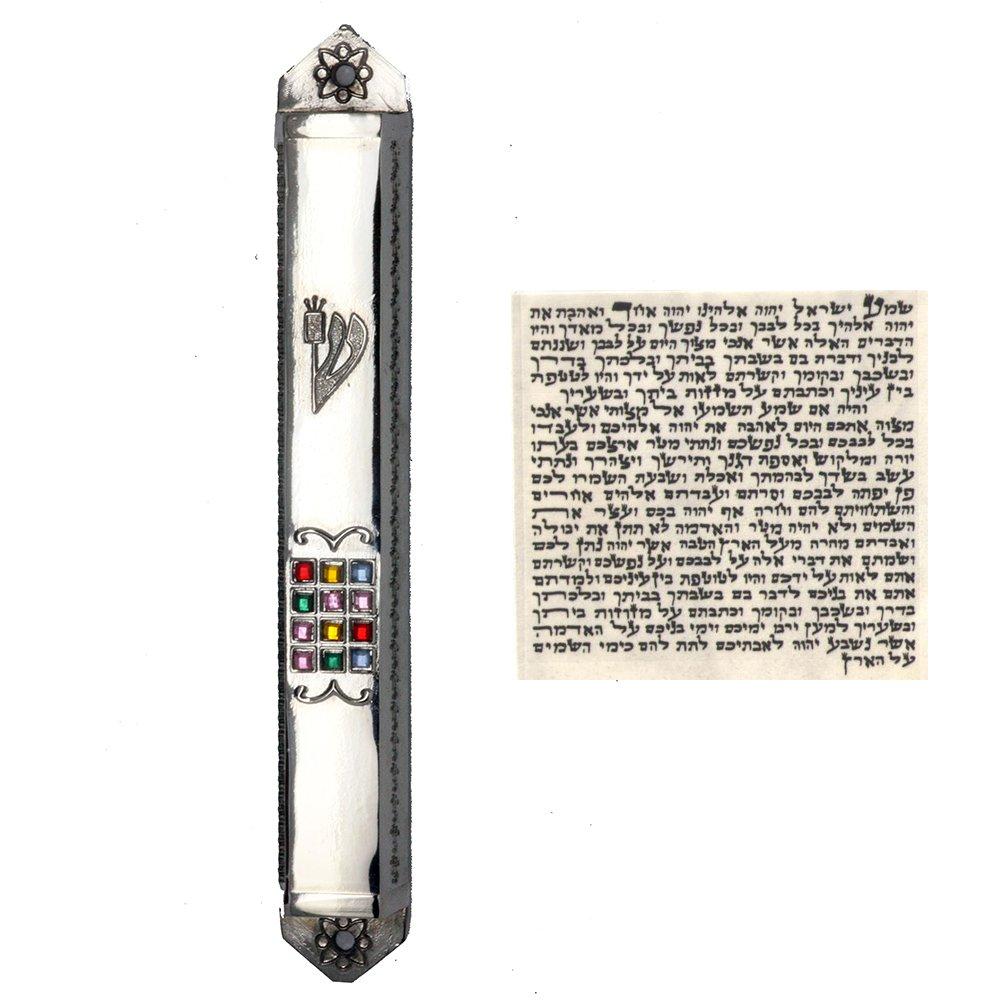Silver with stones Mezuzah With Kosher Scroll Mezuza Case Jewish Hebrew Judaica Gift Top-Judaica