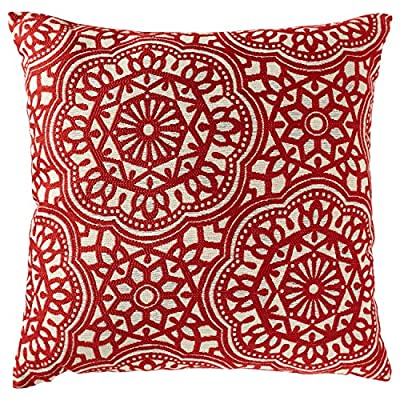 "Stone & Beam Medallion Pillow, 17"" x 17"", Henna - This artisanal pillow features medallion shapes with hints of Moroccan tile. The eye-catching design is a perfect blend of modern and classic, while a velvet back, resilient pillow insert and hidden zipper provide high quality touches. Sophisticated, artisanal style has modern and classic touches Rayon/polyester/cotton blend front with velvet back - living-room-soft-furnishings, living-room, decorative-pillows - 61fbrmGensL. SS400  -"