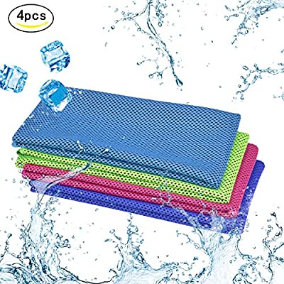 "KAKOO Cooling Towel 4 Pcs Cooling Towels Instant Ice Soft Microfiber Cold Towels for Gym Fitness Yoga Camping Cycling Hiking Jogging Basketball Golf Swimming Outdoor Sports 4 Colors 40""x12"""