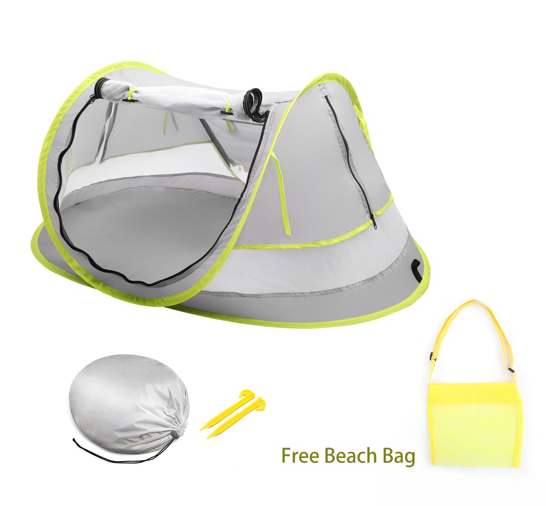 Epltion Baby Beach Tent with Mosquito Net,Baby Travel Bed,Sun Shade Baby Travel Tent,UPF 50+ UV Protection Sun Shelter for Toddlers and Children, Portable Travel Crib,Packaged Free Beach Bag