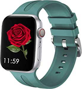 ADOCCI Compatible with Apple Watch Bands 44mm 42mm 40mm 38mm, Soft Silicone Sport Wristbands Strap with Classic Fashionable Clasp Women Men Replacement Band for iWatch SE Series 6 5 4 3 2 1