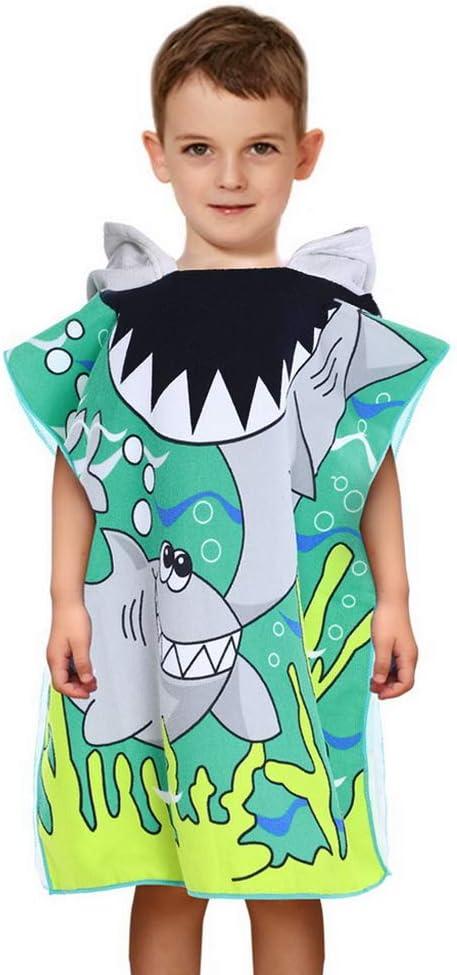 ChicSoleil Toddler Kids Hooded Beach Bath Towel Dinosaur Printed Cartoon Soft Swim Pool Coverup Poncho Cape For Boys Kids Children 1-7 Years Old Bath Robe