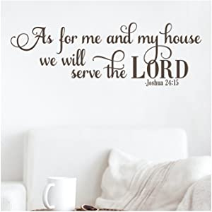 "As for Me and My House We Will Serve the Lord Joshua 24:15 Vinyl Lettering Wall Decal Sticker (12""H x 36""L, Brown)"