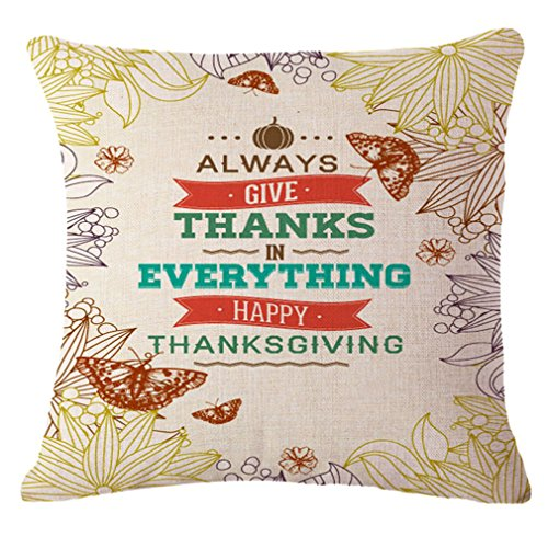 LeiOh Thanksgiving Decoratons Cotton Linen ALWAYS GIVE THANKS IN EVERYTHING Pattern Home Decor Throw Pillow Case Cushion Cover 18 x 18 Inch