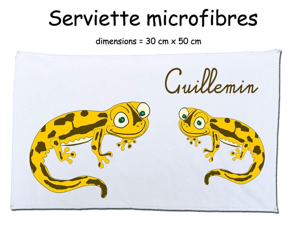 Texti-cadeaux-serviette microfibre (50 x 30 cm) salamandre couleur à personnaliser avec un prénom exemple Guillemin
