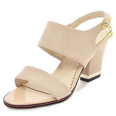 4179aee492d DoraTasia Women s Fashion Chunky Heel Wilde Ankle Strap Buckle Metal  Pendant Nubuck Leather Sandals -Beige