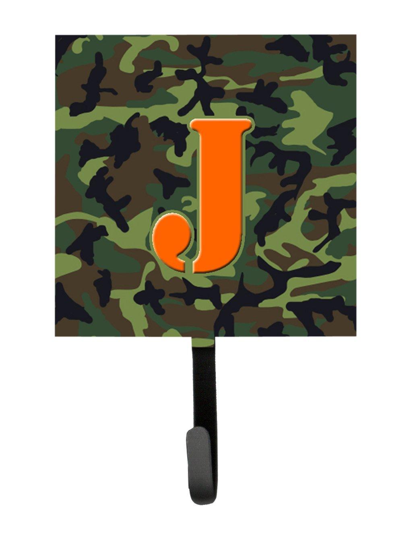 Small Carolines Treasures CJ1030-JSH4 Letter J Initial Monogram-Camo Green Leash Holder or Key Hook Multicolor