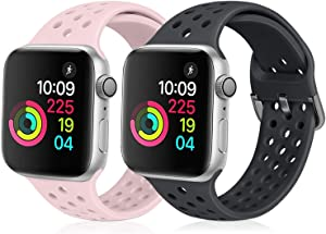 XFYELE Compatible with Apple Watch Band 42mm 44mm, Soft Silicone Replacement Strap Compatible for iWatch Series 6, 5, 4, 3, 2, 1 for Women and Men (Dark Grey & Pink Sand, 42mm/44mm)