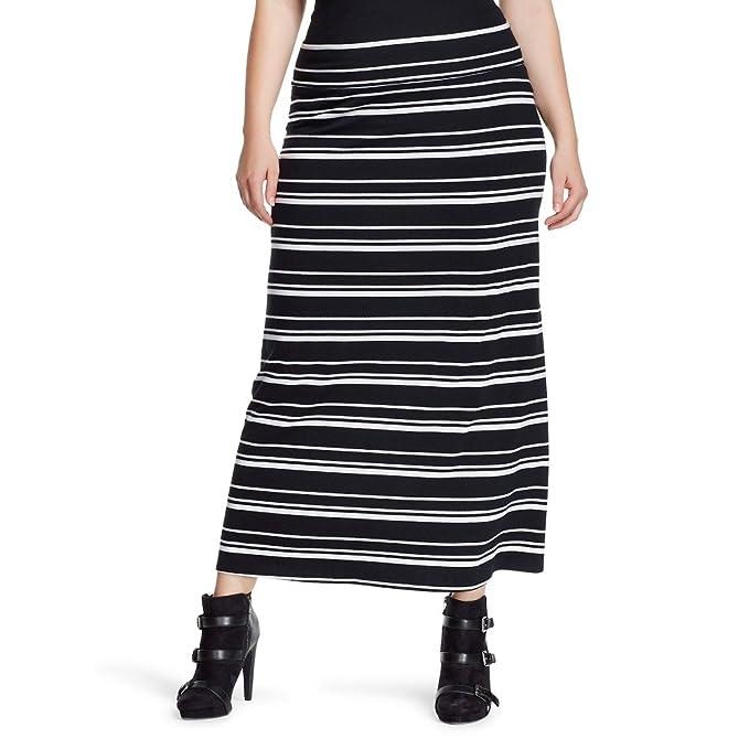 45da1a88a Ava & Viv Women's Plus Size Knit Striped Maxi Skirt at Amazon ...