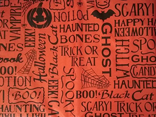 Cute Happy Halloween Phrases (Black Halloween Words and Phrases on Bright Orange Background - Flannel Backed (52
