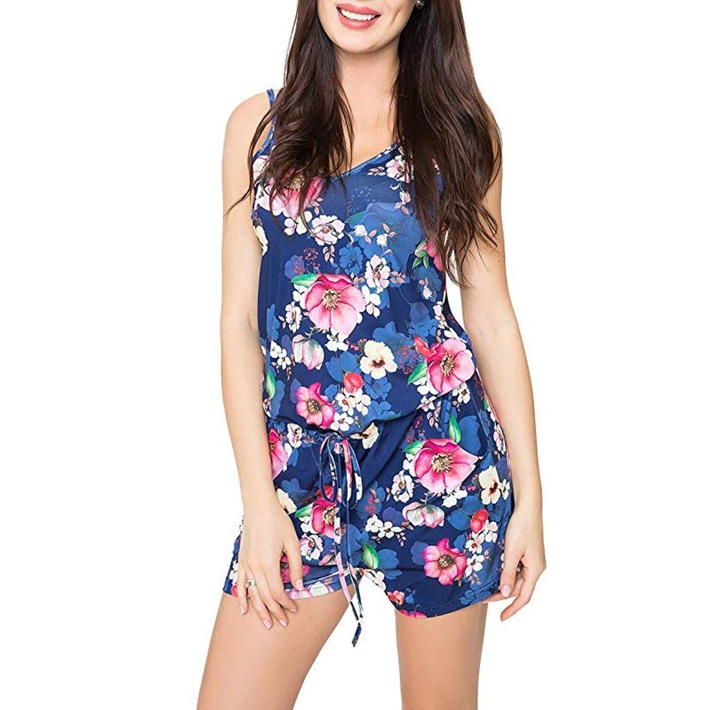 Fashion Women Summer Holiday Floral Print Casual Sling Sleeveless Jumpsuit US