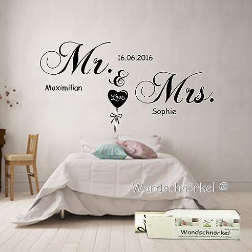 Wandschnörkel® Wandtattoo Schlafzimmer Mr.&Mrs.Mit Namen Datum