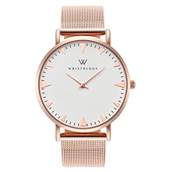 7577779eba7 Image Unavailable. Image not available for. Color  WRISTOLOGY Stella Womens  Rose Gold Minimalist Wrist Watch Metal Mesh Easy Change Band