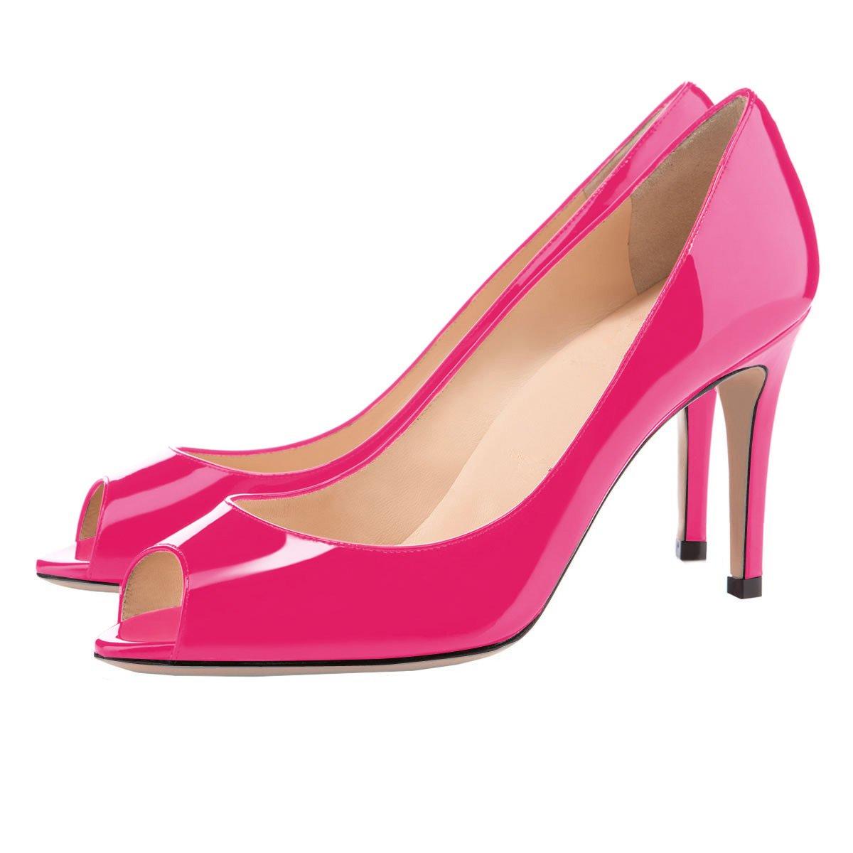 Eldof Women Peep Toe Pumps Mid-Heel Pumps Formal Wedding Bridal Classic Heel Open Toe Stiletto B07F1QGHKB 13 B(M) US|Rose