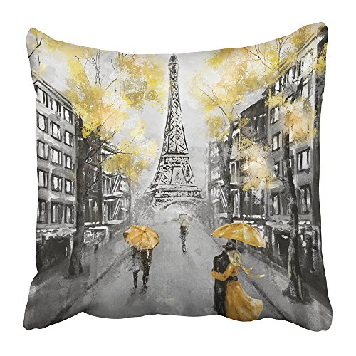 Emvency Throw Pillow Cover Square 18x18 inches Oil Painting Paris European City Landscape France Eiffel Tower Black White and Yellow Modern Couple Polyester Decor Hidden Zipper Print On Pillowcases