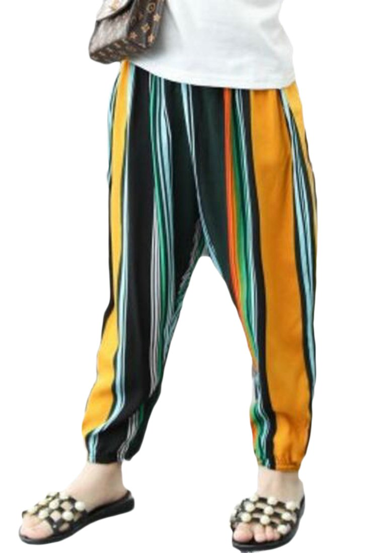 XiaoTianXin-childrens-costumes XTX Girls Comfort Ankle Length Harem Soft Print Striped Loose Fit Pant 1 3T