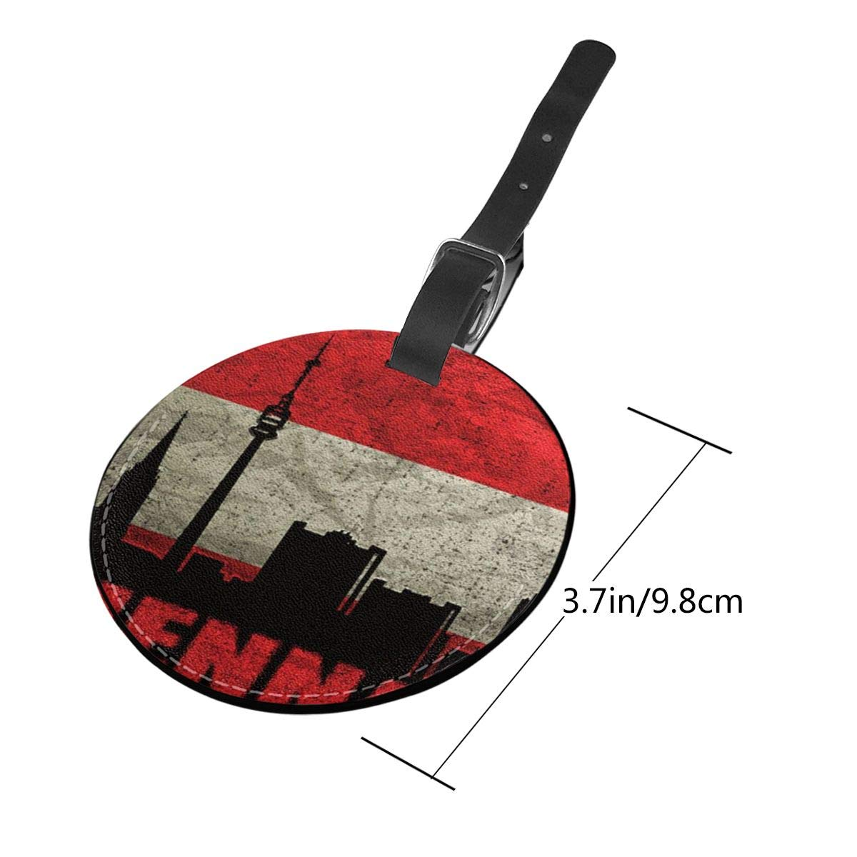 Simoner Austria Vienna Architecture Round PU Leahter Luggage Tags Privacy Protection Travel Bag Labels Suitcase Tags