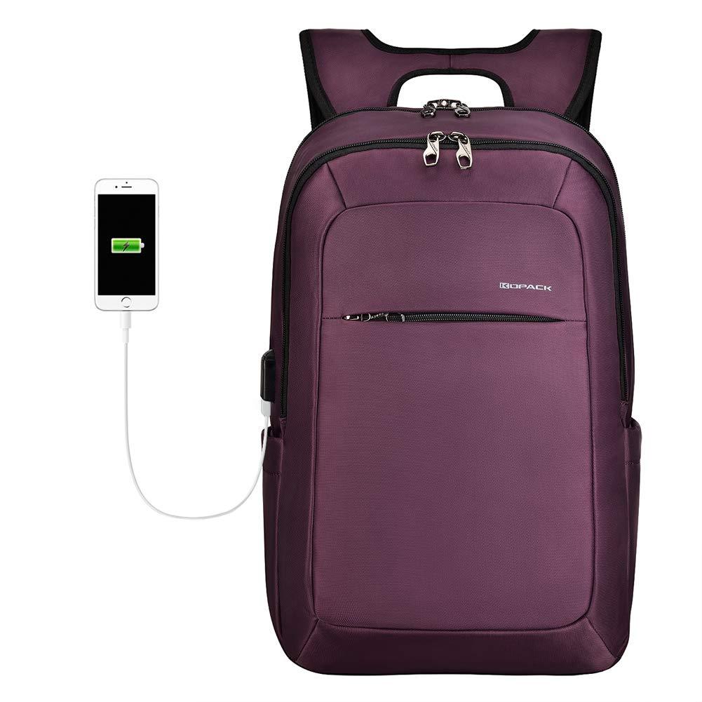 KOPACK Slim Women Laptop Backpack 15.6 in with USB Charging Port Anti Theft Laptop Bag College Purple by kopack