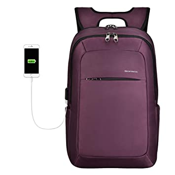 559b1b0b8f1d KOPACK Slim Women Laptop Backpack 15.6 in with USB Charging Port Anti Theft  Laptop Bag College Purple