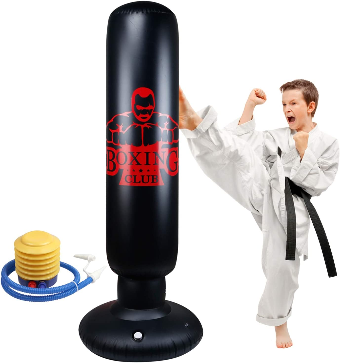 Locsee Punching Bag for Kids, Inflatable Freestanding Bop Bag for Adults and Kids Fitness Boxing Target Bag with Stand, Training Kickboxing Equipment (63 inch) : Sports & Outdoors