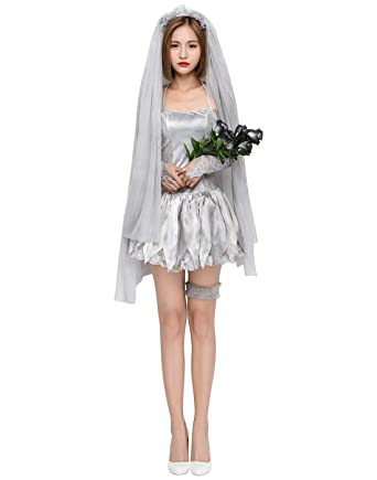 HDE Women\u0027s Zombie Corpse Bride Costume Halloween Cosplay Ghost Bridal  Outfit Dress Veil and Accessories Adult One Size Grey