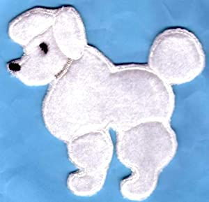 Spk Art White Poodle Dog 50s Theme Embroidery Applique Iron On Patch, Sew on Patches Badge DIY Craft