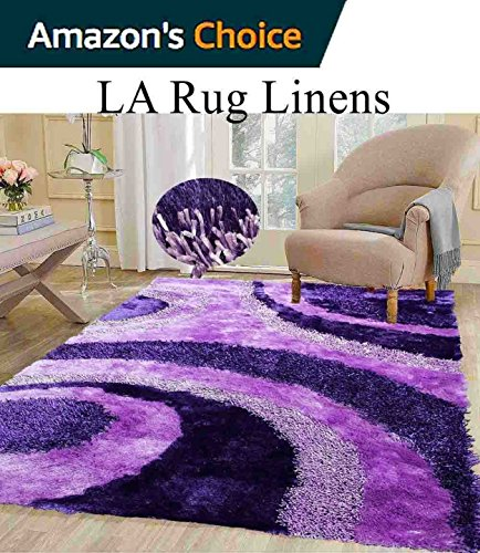 Light Purple Dark Purple Lavender Lilac Shaggy Shag Area area Rug 5x7 High End Designer Quality Flokati High Pile Soft Iridescent Sheen Ultra Plush 2016 (Target Area Rugs Purple)