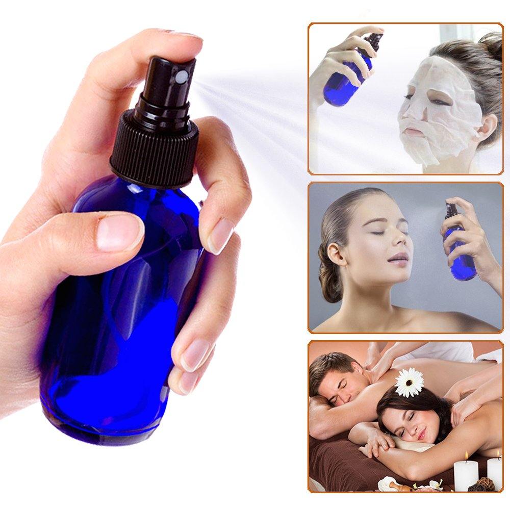 Olilia 1 oz Cobalt Blue Glass Spray Bottles with Black Fine Mist Sprayer Pack of 12, Mini Funnel and Transfer Pipettes included by Olilia (Image #5)