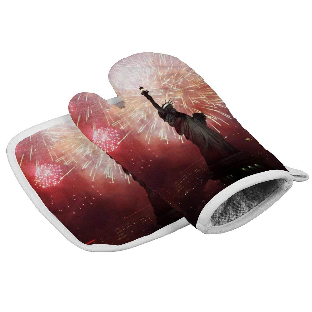 Fireworks Statue of Liberty New York City Heat Resistant Glove Insulation Hot Pan Mat Kitchen Cooking Tool for Microwave Oven Baking Barbeque Men Women 2Pcs Set