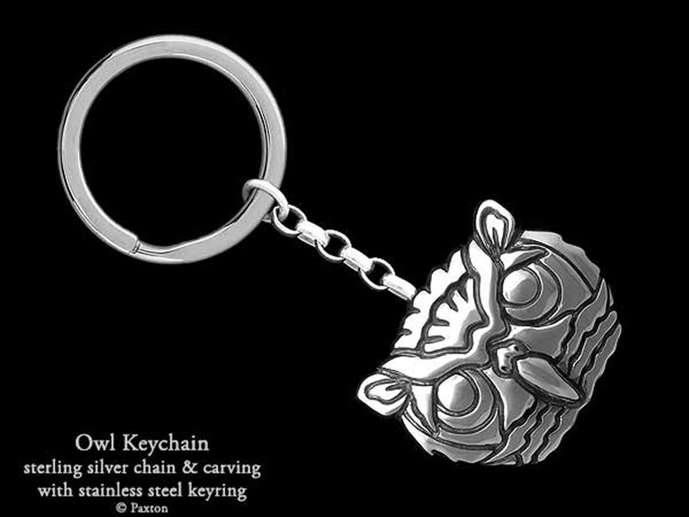 Sterling Silver Owl Head Keychain / Keyring Handmade by Paxton