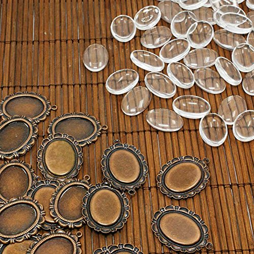 PEPPERLONELY Brand 10 Sets Antiqued Bronze Cabochon Frame Setting Tray Pendant with Clear Oval Glass Dome Tile Cabochon ()
