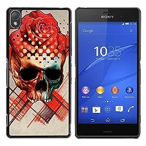 GOODTHINGS Funda Imagen Diseño Carcasa Tapa Trasera Negro Cover Skin Case para Sony Xperia Z3 D6603 / D6633 / D6643 / D6653 / D6616 - se levantó el sombrero cráneo negro arte de la flor roja