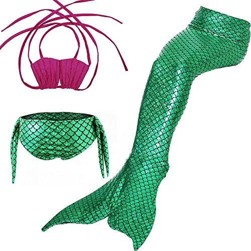 Yosoo 3 Piezas Chicas Traje de baño Bikini Set Sirena Fishtail Natación Disfraz Pantie Esta monoaleta Aletas Trajes de...