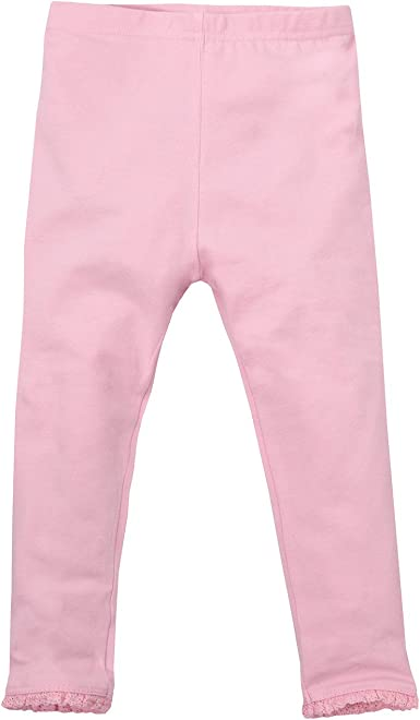 Minikidz Infant Girls 2-Pack Leggings with Pretty Lace Trim