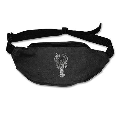Unisex Pockets White Crayfish Fanny Pack Waist / Bum Bag Adjustable Belt Bags Running Cycling Fishing Sport Waist Bags Black