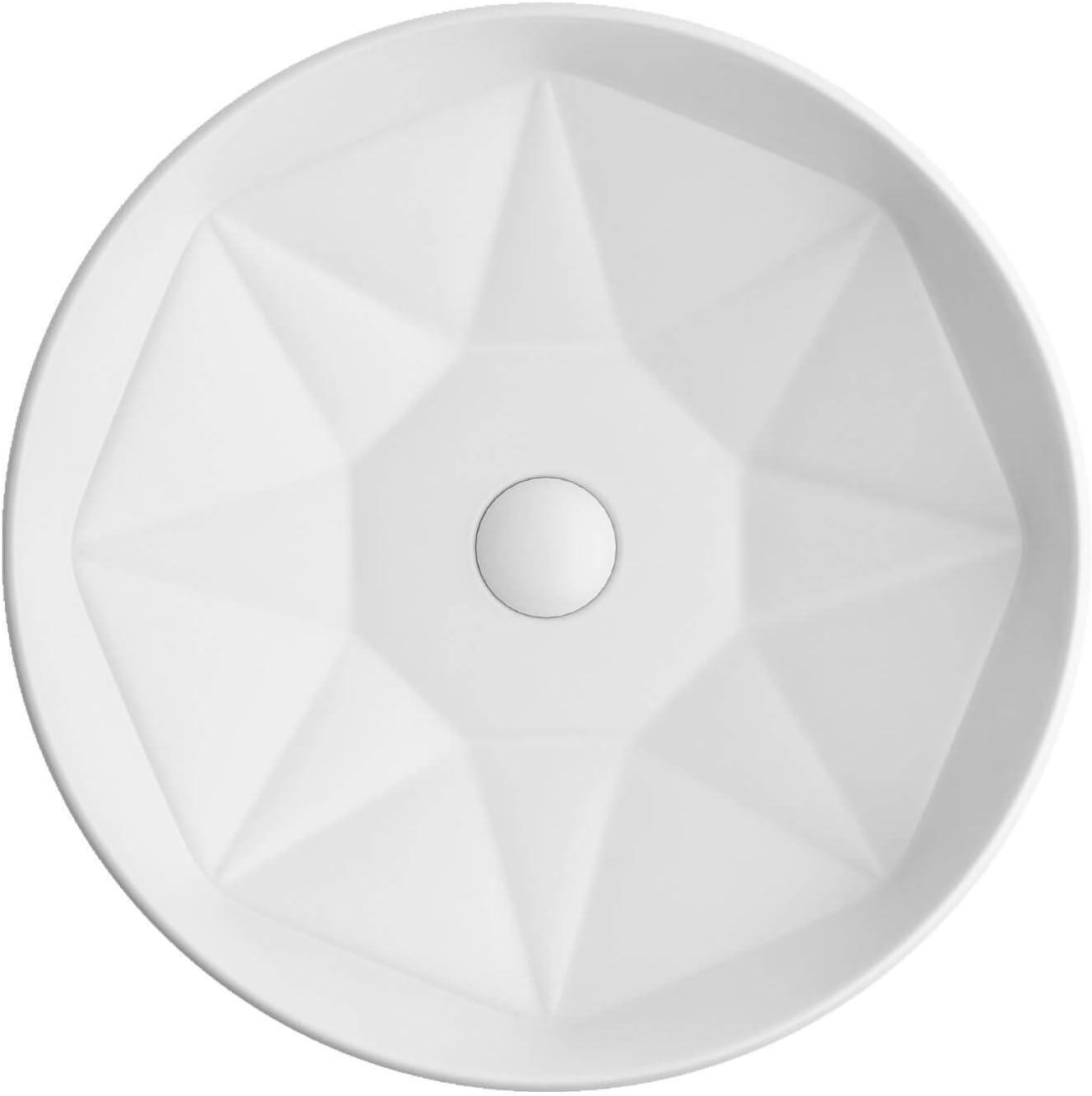 Lucco Lavabo sobre encimera ovalado | Lavabo redondo | Diseño moderno de cerámica | Lavabo de pared sin rebosadero 40 cm | Lavabo de invitados WC | Blanco
