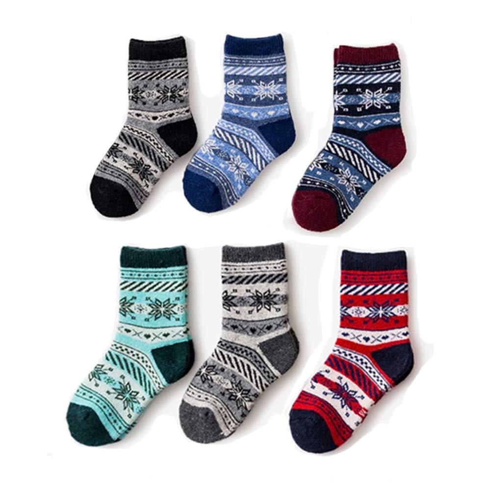 YEMEKE Girls Boys Wool Socks Thick Warm For Kids Children Toddlers Cotton Winter Crew Socks 6 Pairs
