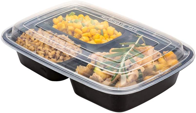 Asporto 26 oz Black Plastic 3 Compartment Food Container - Microwavable, with Clear Lid - 8 3/4