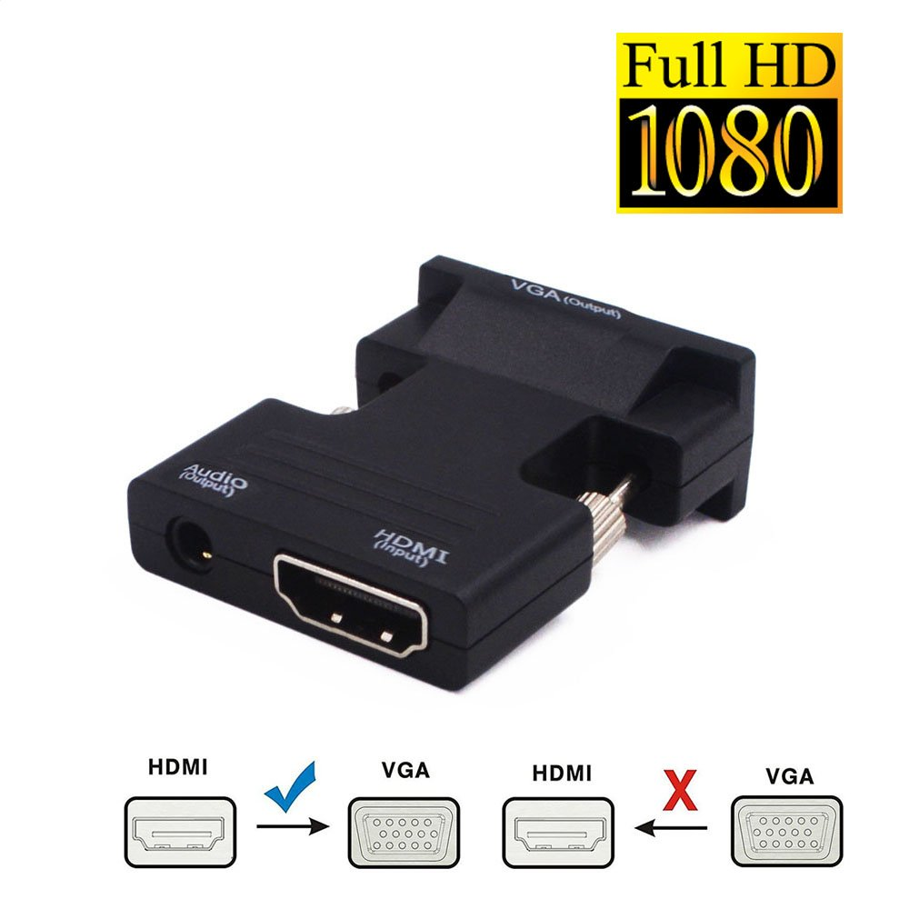 Active 1080P HDMI Female to VGA Male Converter Adapte Support with 3.5mm Stereo Audio ,Portable HDMI Input for Laptop PC PS3 Xbox Blu-ray DVD TV Stick