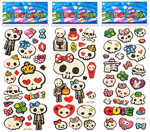6 Sheets Puffy Dimensional Scrapbooking Party Favor Stickers + 18 FREE Scratch and Sniff Stickers - SKULLS (Halloween Bulletin Board Ideas For Toddlers)